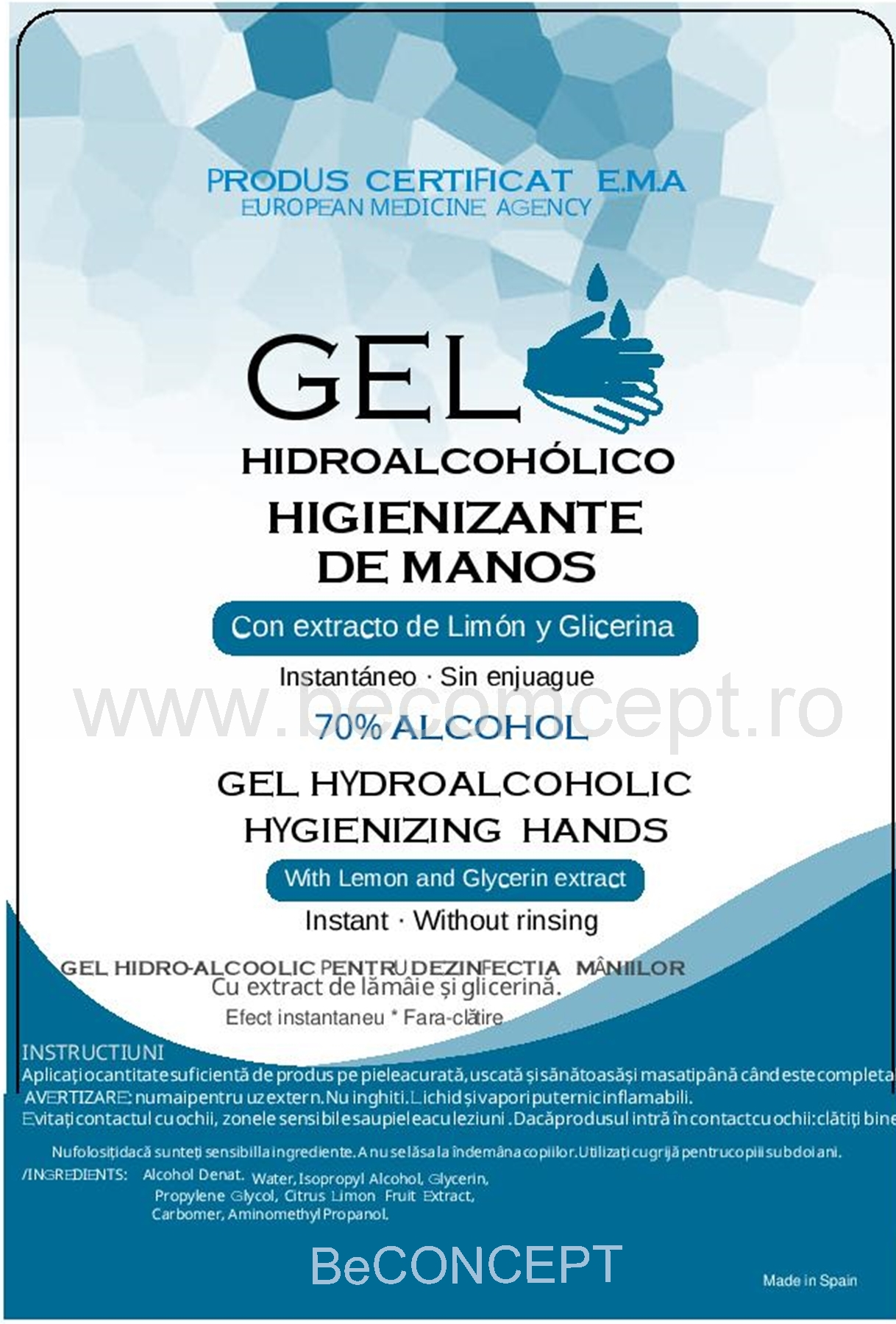 GEL DEZINFECTANT 70% ALCOOL